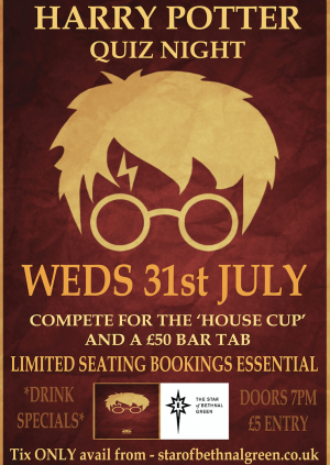 Harry Potter QUIZ night at the Star of Bethnal Green
