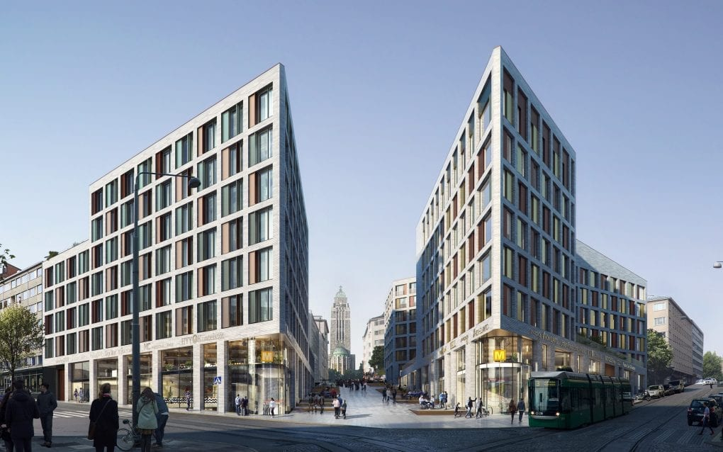 A 3D rendered image of the future housing project Lyyra. Two triangular, light concrete buildings of 7 stories, with large windows, standing on each side of the road leading up to the Kallio church further in the back. The sky is blue. There are people on the streets and a tram passing by.