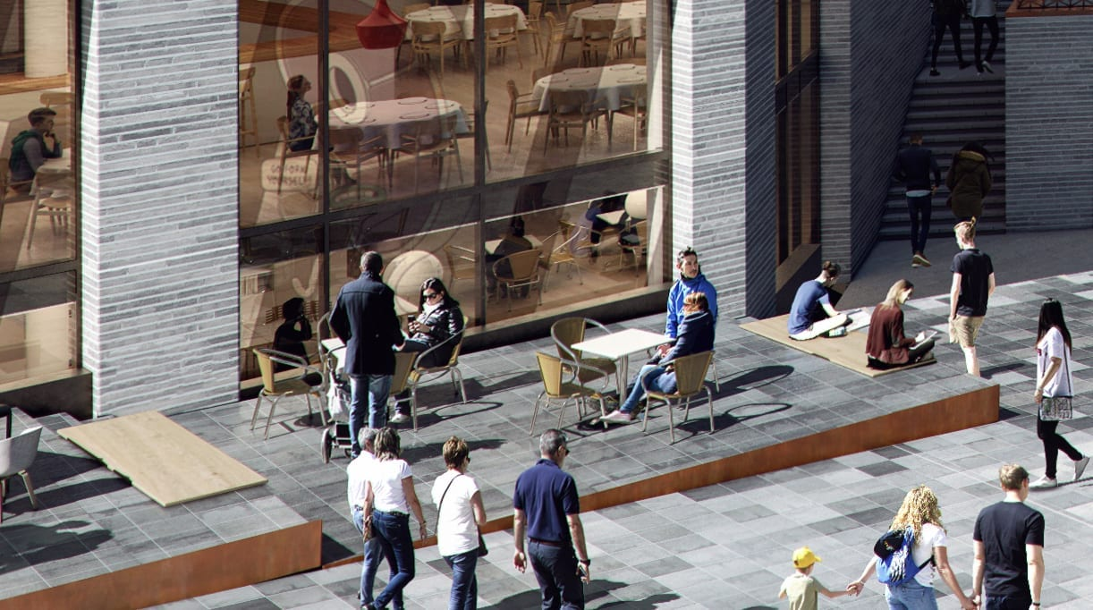 A 3D rendered photo of a busy street in summer with people sitting outside on a terrace, walking, and so on.