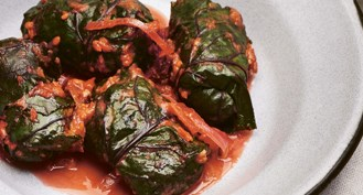 Olia's Beetroot Leaf Rolls with Buckwheat and Mushrooms