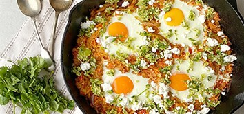 Han & Becks' Spicy Winter Veg with Baked Eggs and Zingy Brussels Sprouts