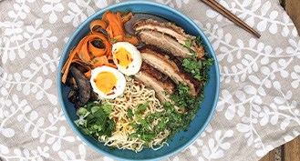 A simple recipe for delicious organic pork belly ramen with organic chicken bone broth and noodles.