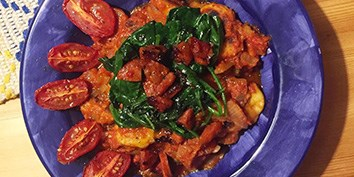 Organic Chorizo crumbled into a spiced cherry tomato sauce with freshly made gnocchi.