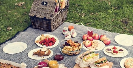 Fill your picnic hamper with tasty morsels including fresh bread and organic cheese and charcuterie.