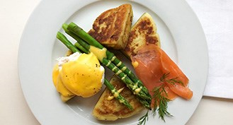 Organic potato farls with poached eggs, asparagus and hollandaise sauce for Burns Night!