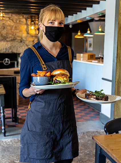 Organic food and grass fed steaks at the Dartmoor Inn merrivale