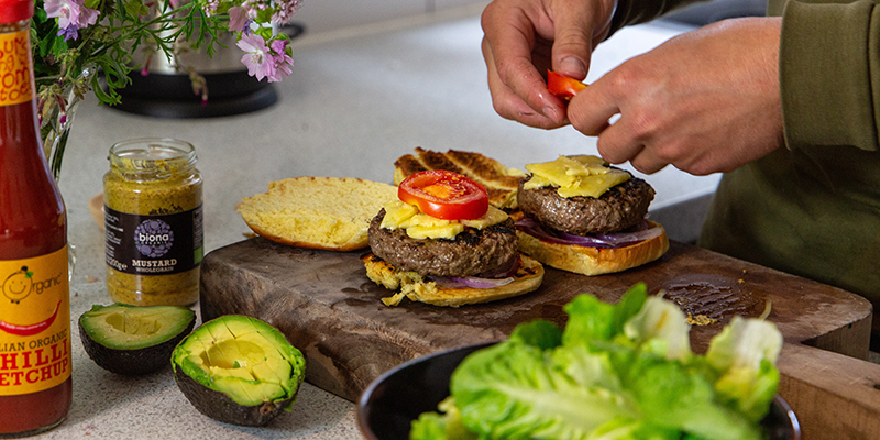 how to cook burgers on the stove, organic grass fed meat