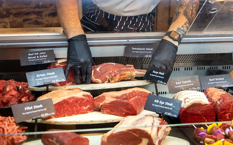 Pasture fed for life meat at an ethical organic butchers