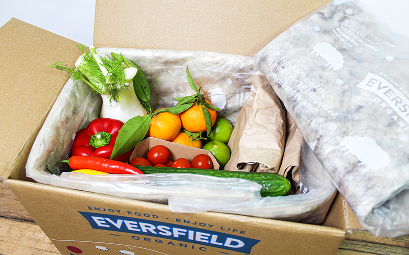 Eversfield Organic compostable recyclable packaging with vegetables
