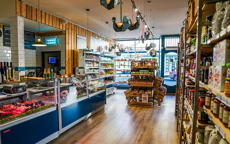 Organic farm shop with ethical butchers, wild fish and wine cave