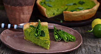 organic seasonal vegetable recipes - pea mint tart