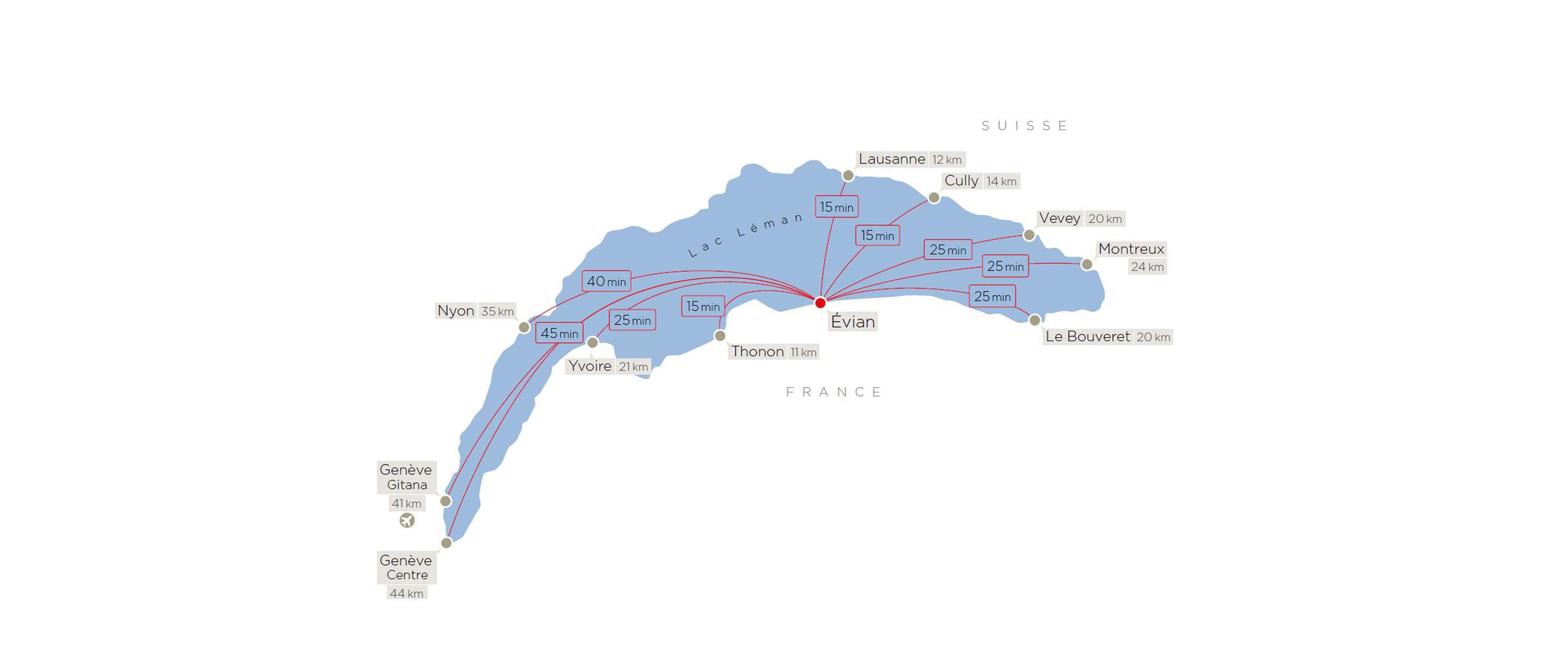 L Evian One peut embarquer jusqu à 8 personnes avec bagage et navigue sur  réservation tous les jours 24h 24h. Possibilité d autres points d amarrage  sur ... 06421ab7645