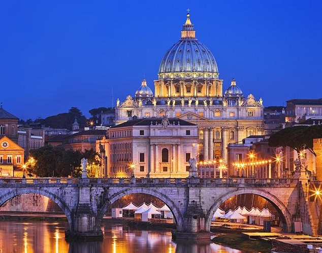 Awesome: St Peter's, as famous for its associations with Tom Hanks, below, right, as the Pope