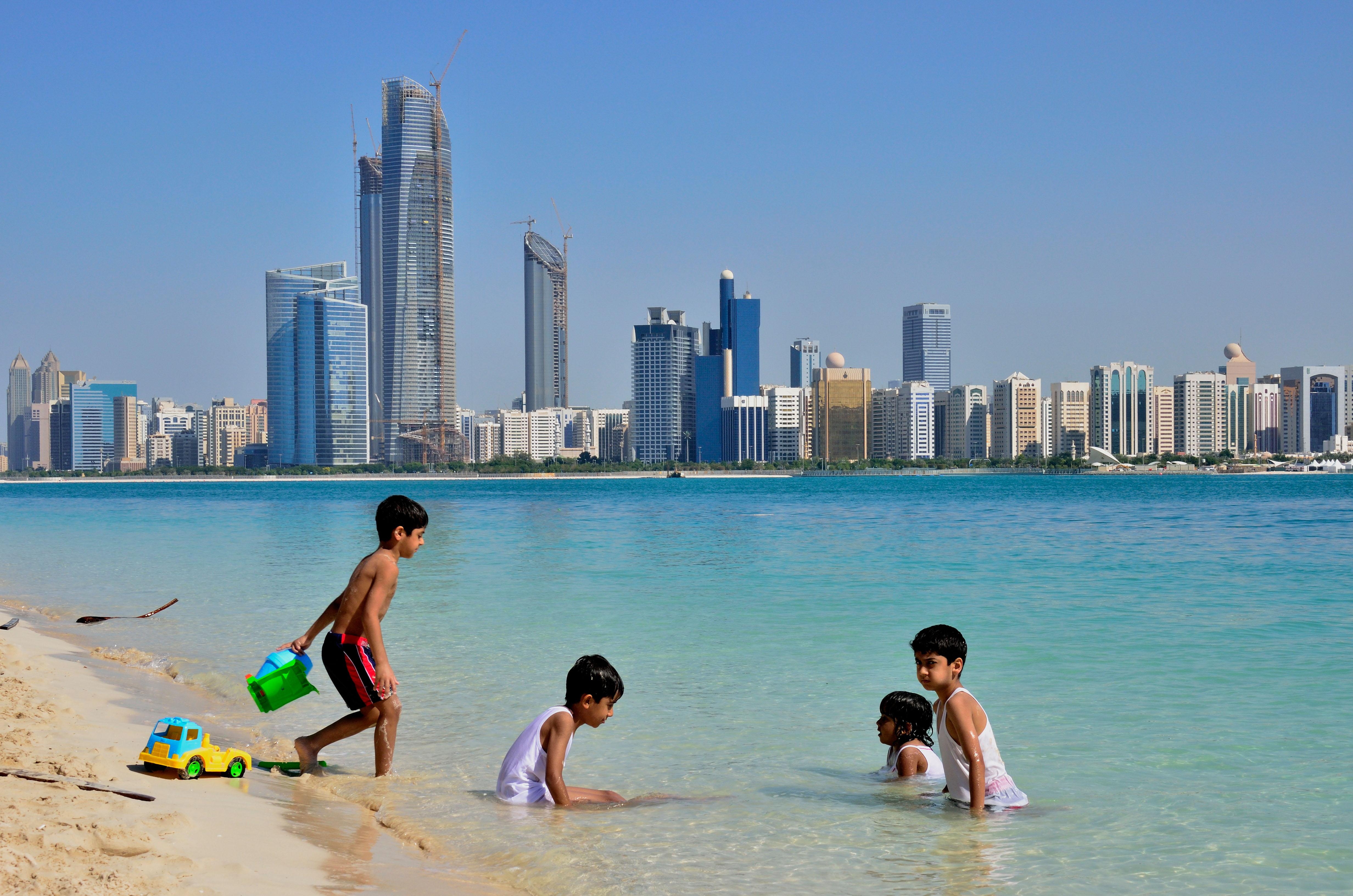 Children playing in Beach, Abu Dhabi