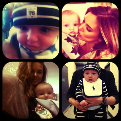 Jodie with their baby son, Koa. Pic:Twitter.