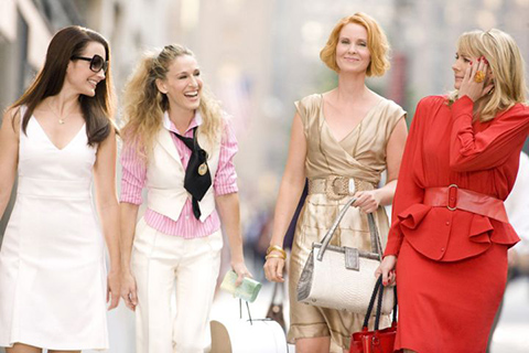 Kristin Davis, Sarah Jessica Parker, Cynthia Nixon, and Kim Catrall in the first Sex and the City film (2008)