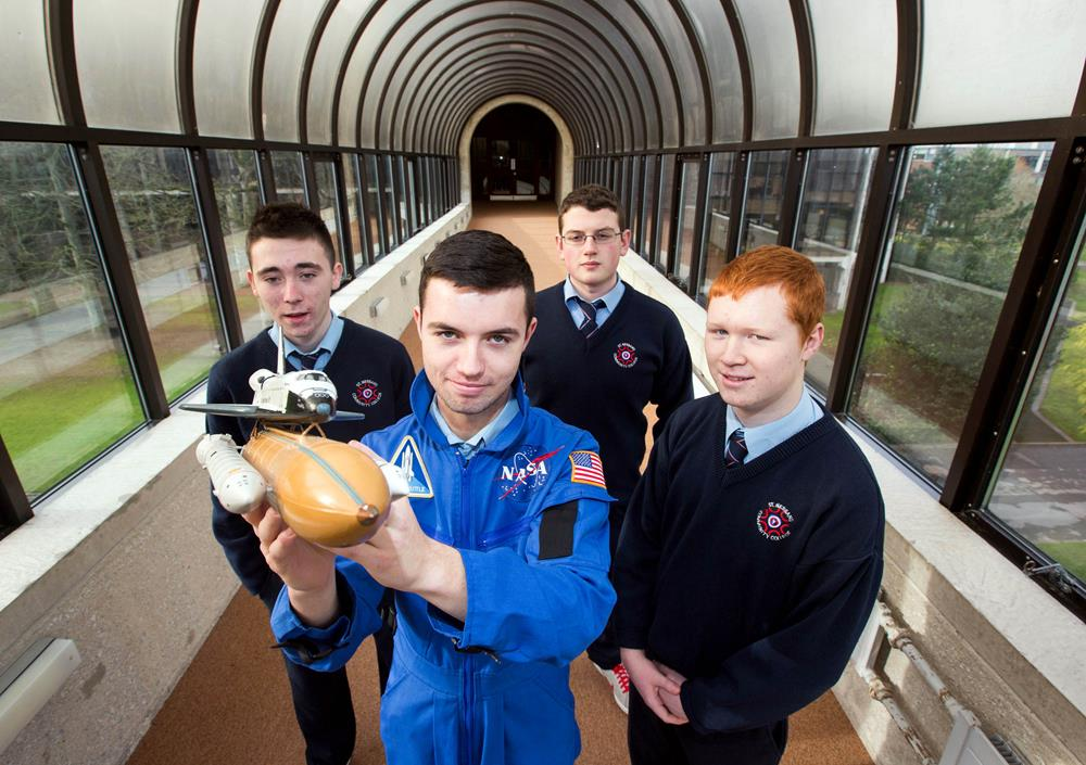 The space students: Jamie O'Connell, Jonathon Roche, Kevin Hanley and Jason Hannon pictured at the University of Limerick