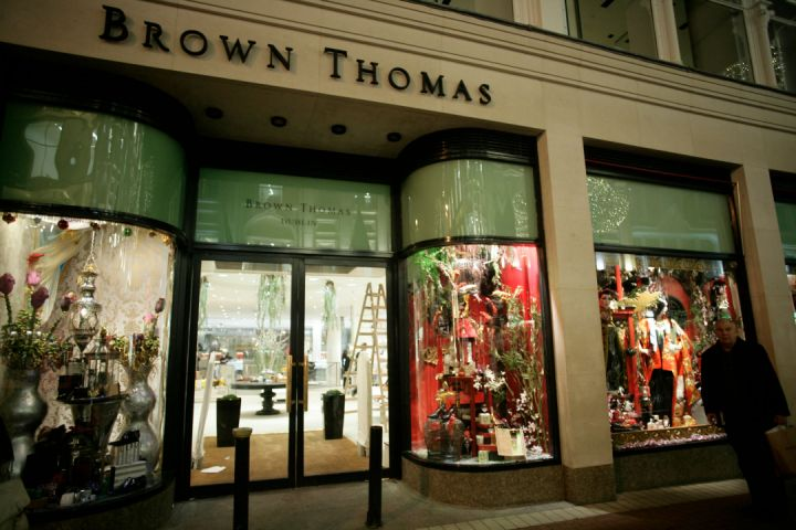 Christmas lights and decorated windows at Brown Thomas, Grafton