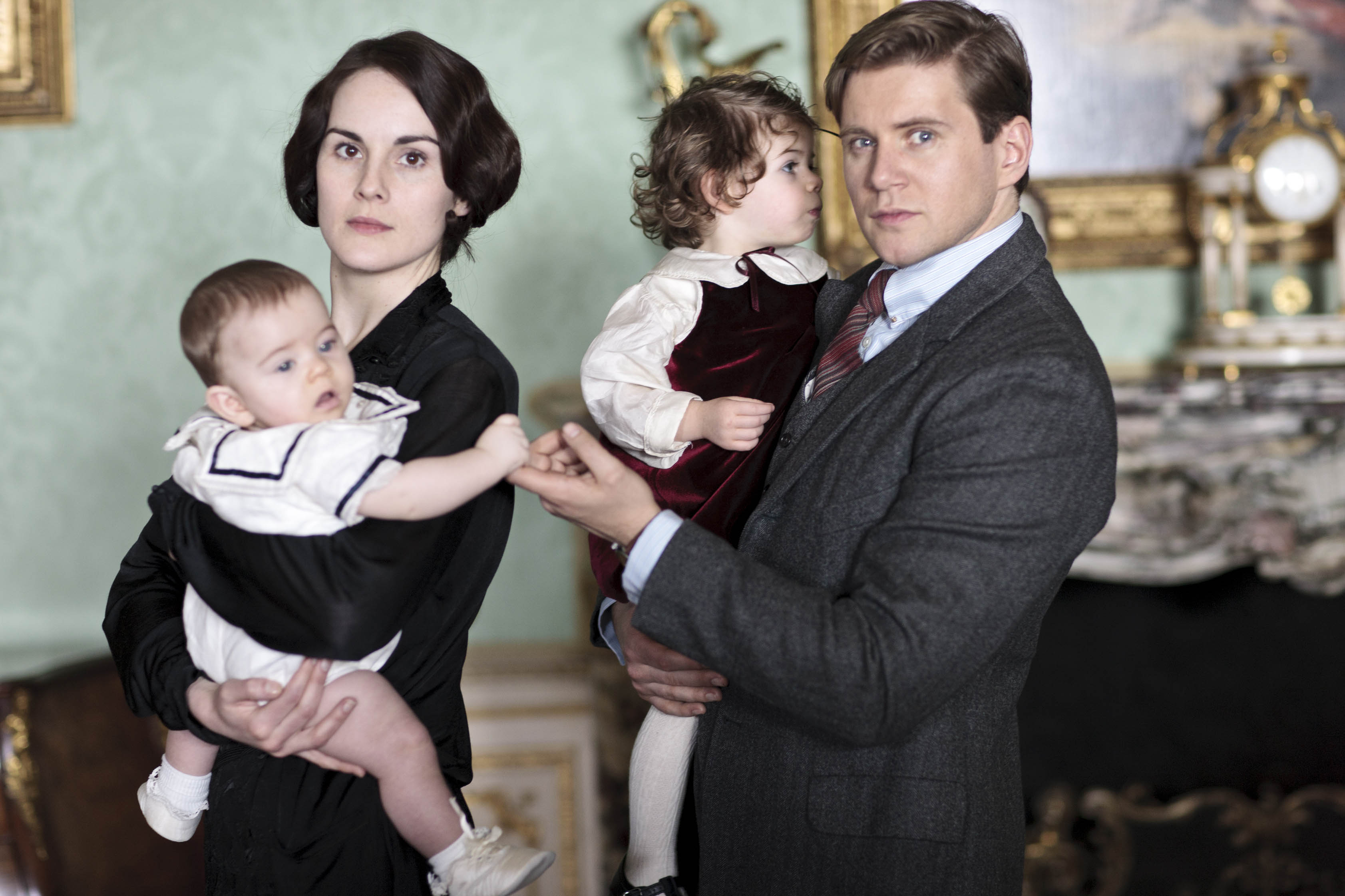 Television Programme: Downton Abbey with Michelle Dockery as Lady Mary with Baby George and Allen Leech as Tom Branson with baby Sybbie.