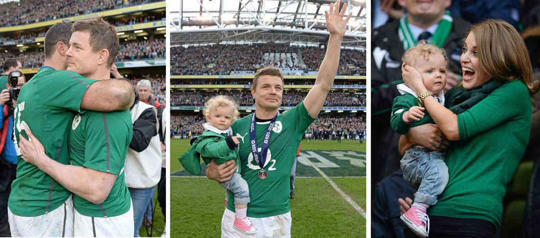Ireland Captain Brian ODriscoll Watched By Wife Amy Huberman And