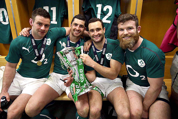 Success: Rob and Dave Kearney with the Six Nations trophy and team mates Fergus McFadden and Gordon D'Arcy