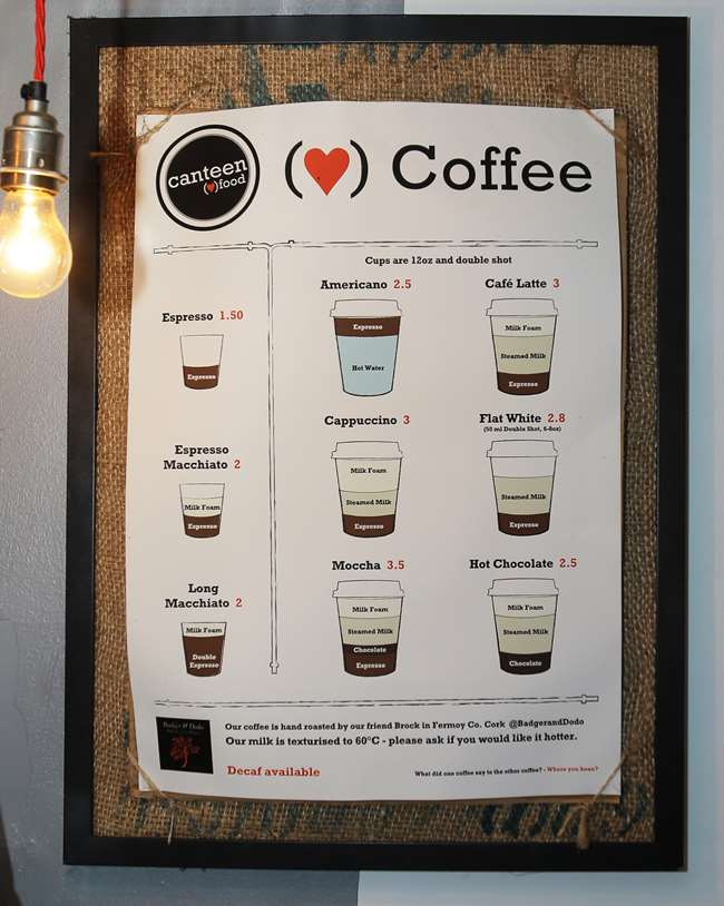 The coffee menu at the Canteen