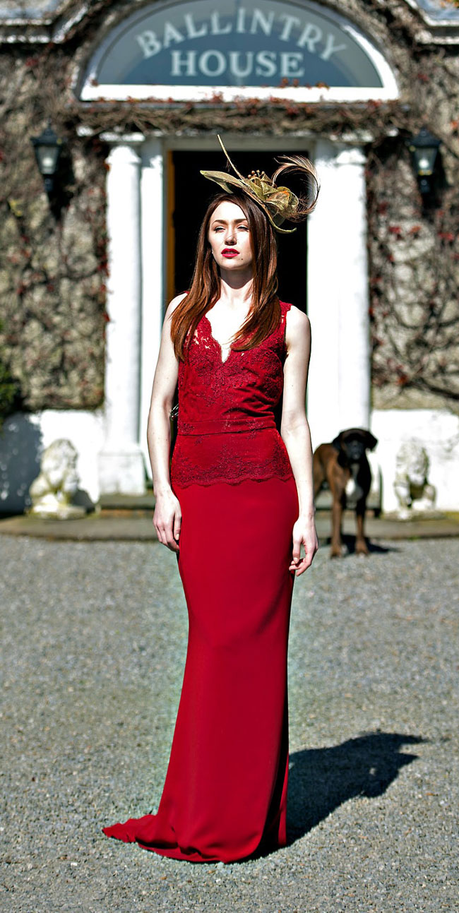 Red lace dress from  €190 rental @ Covet