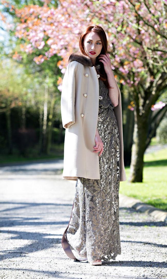 Faux fur coat, sequin-embellished dress, both from €190 rental @ Covet