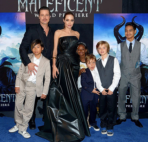 Family support: Brad and Angelina with children(left to right) Pax, ten, Zahara, nine, Knox, five, Shiloh, seven and Maddox, 12. Pic: File