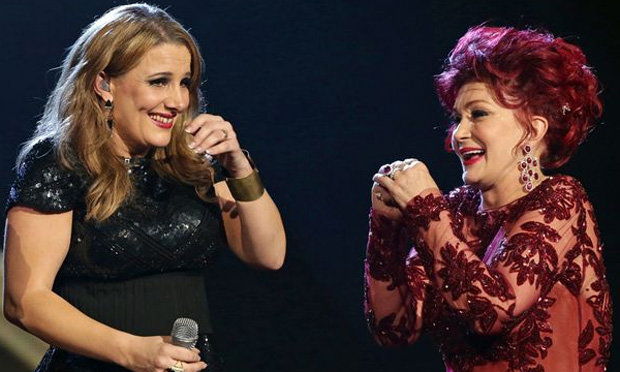 Sharon with Sam Bailey on the X Factor in 2013