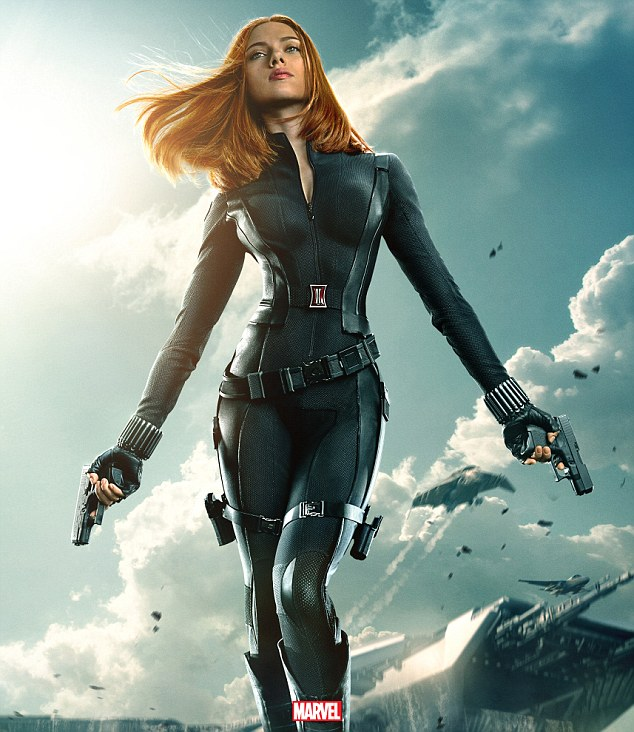 She has made a fortune off looking hot: The Avengers beauty in a photo from the Marvel adventure