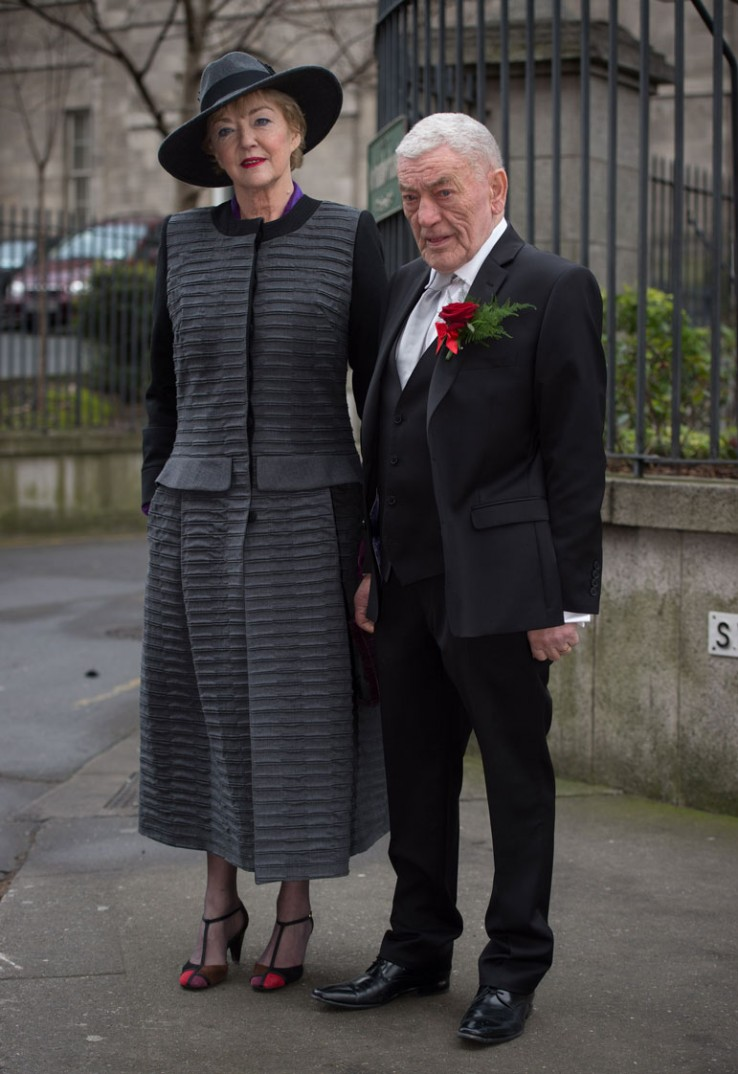 Marian posing with her husband John Clarke after they renewed their vows last year