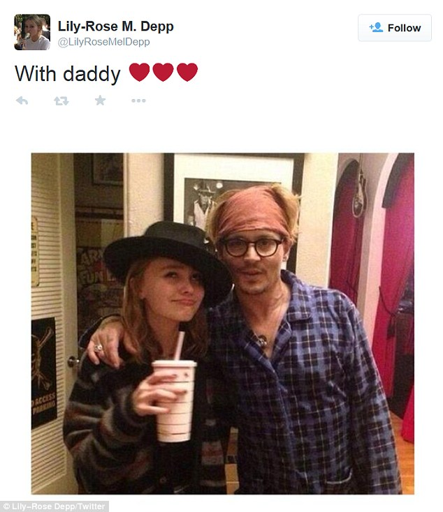 Family man: Johnny has two children, Lily-Rose, 15, (pictured above) and Jack, 12, from his relationship with Vanessa Paradis