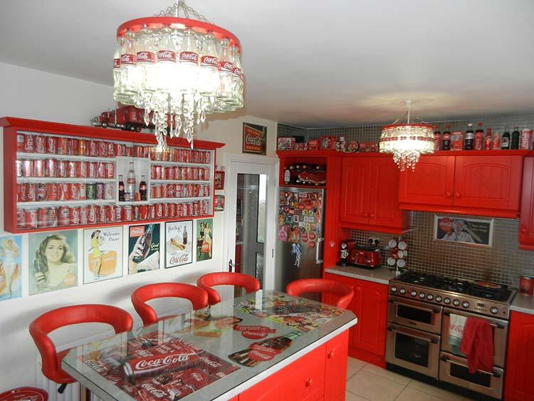 The kitchen even has Coke chandeliers