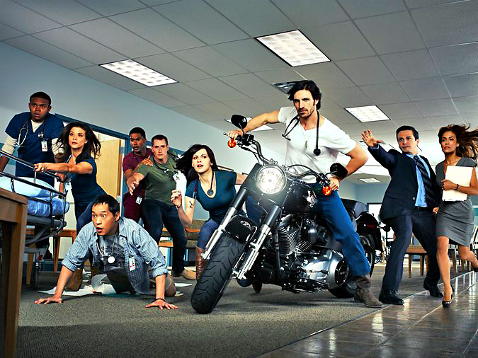THE NIGHT SHIFT -- Season: Pilot -- Pictured: (l-r) Robert Bailey, Jr. as Paul, Jeananne Goossen as Krista, Ken Leung as Topher, JR Lemon as Kenny, Brendan Fehr as Drew, Jill Flint as Jordan Santos, Eoin Christophe Macken as T.C. Callahan, Freddy Rodriguez as Michael Ragosa, Daniella Alonso as Landry De La Cruz -- (Photo by: Jeff Riedel/NBC)