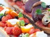 Grilled vegetables with goats cheese bruschetta