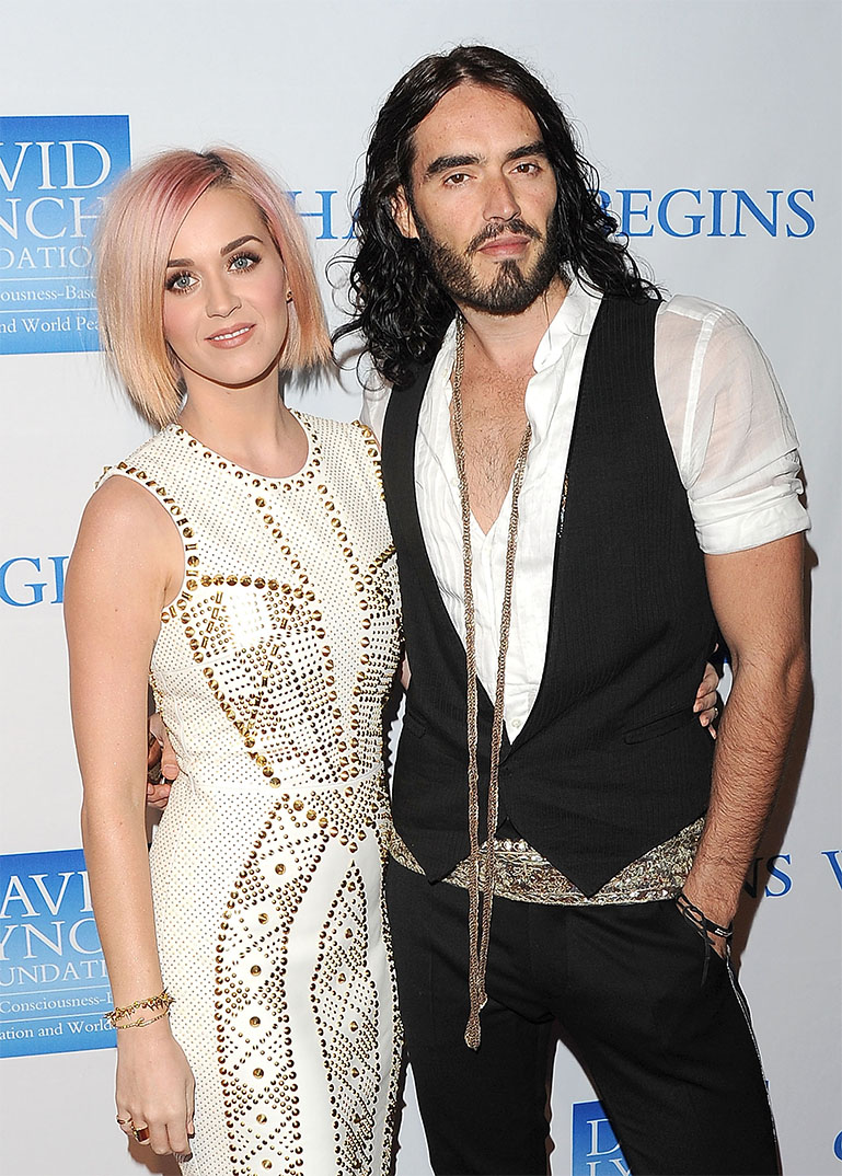 "Singer Katy Perry (L) and actor Russell Brand attend the 3rd Annual ""Change Begins Within"" Benefit Celebration presented by The David Lynch Foundation held at LACMA on December 3, 2011 in Los Angeles, California. LOS ANGELES, CA - DECEMBER 03: (Photo by Jason Merritt/Getty Images)"
