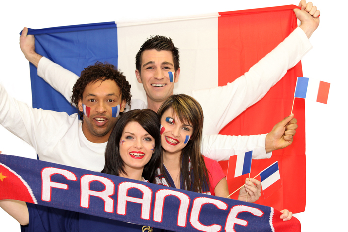 D7W9CT Happy French football supporters