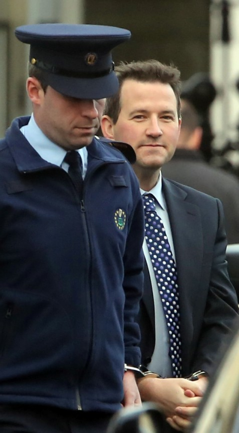 Architect Graham Dwyer (C) pictured leaving the Four Courts in Dublin, after his bail application was refused following a Supreme Court hearing. Graham Dwyer is expected to spend his next 25 years behind rs, sources have said. he convicted murderer was ast night on suicide watch at ountjoy jail ahead of being transferred to the Midlands Prison to serve a life sentence for the killing of childcare worker Elaine OÕHara. While dealing in ÔspeculationÕ, sources say they expect Dwyer will most likely spend more than 25 years in jail. The fact that he took a life for sexual gratification after grooming his vulnerable and mentally ill victim will be taken into consideration. Additionally the fact that he did not plead guilty and Ð given the nature of his crime Ð he could be considered a likely person capable of re-offending. For those reasons, and because signing off on his release would be politically unpopular, Dwyer might well spend years longer in prison than various other murderers. File Photo n Graham Dwyer (Center) pictured leaving the Four Courts yesterday(Thurs) after his bail application was refused following a Supreme Court hearing.Pic: Collins Courts