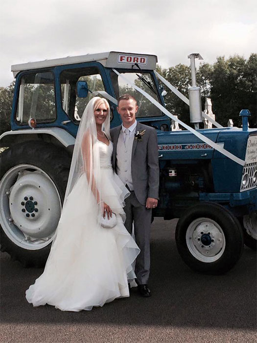 Crystal Swing Star on her wedding day to Tim Pic: File