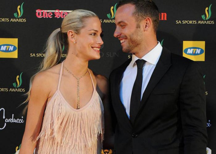 Oscar and Reeva before her death (File pic)