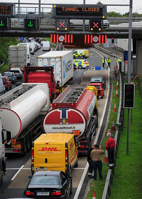 BREAKING: Dublin Port Tunnel Fire Causes Traffic Chaos