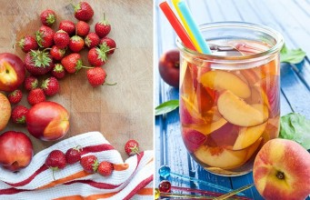 Peach Iced Tea with Mixed Berries