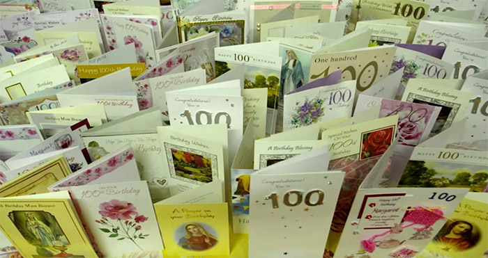 Bessie's many cards for her 100th birthday