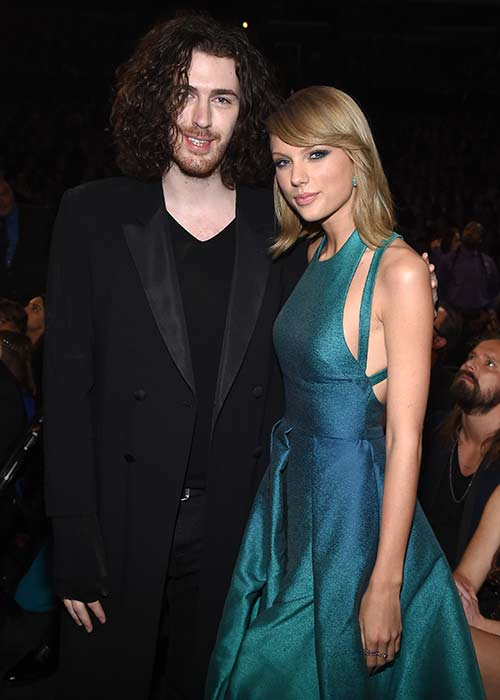 Hozier and Taylor backstage at the 57th Annual Grammy Awards