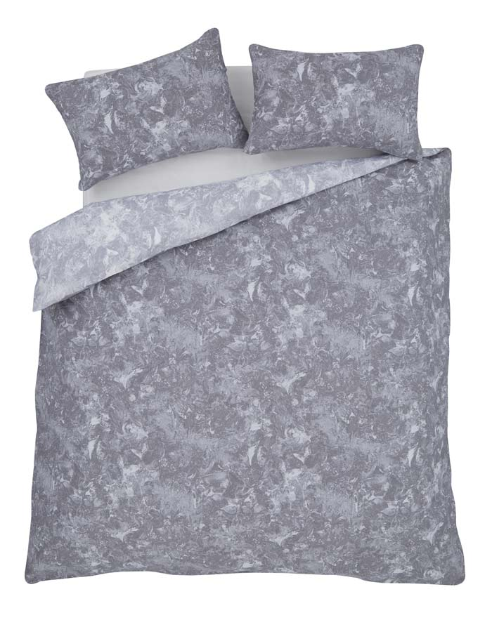 Marble patterns and prints applied to textiles are huge trend this season. This grey duvet set €35 has just hit Harvey Norman Stores.