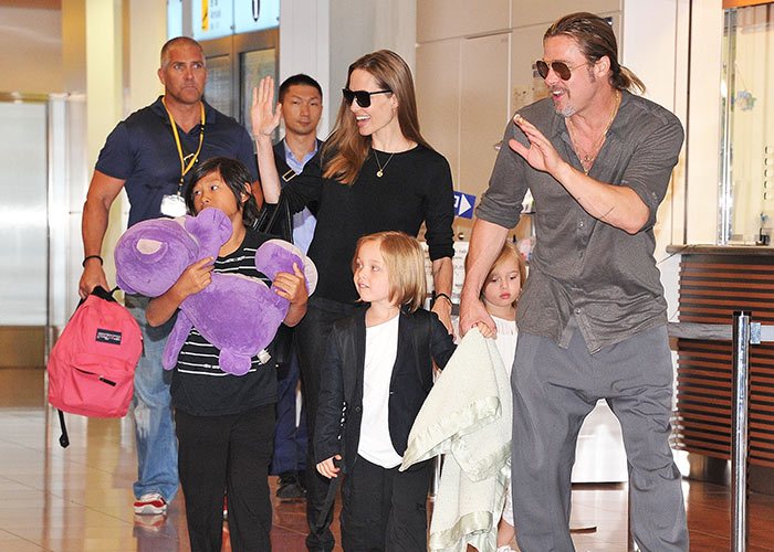 Brad and Angelina with their family in happier times. Pic: File
