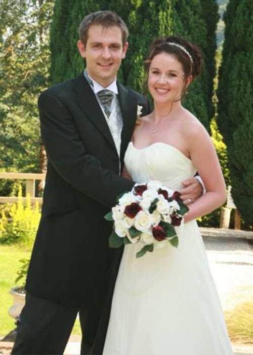 Tom Meagher and wife Jill on their wedding day