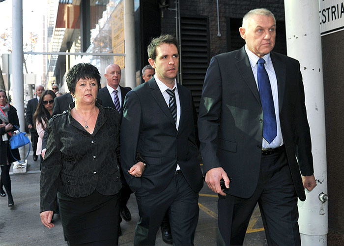 Thomas Meagher with Jill's mother Edith at the court case. Pic: Rex