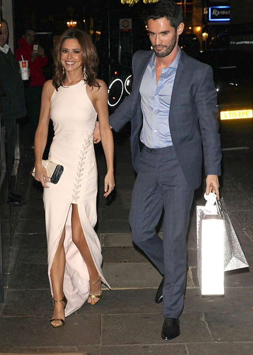 Cheryl arriving to the party with her BEAUTIFUL French hubby.